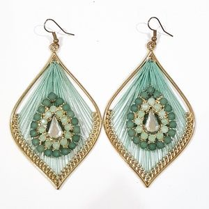 Jewelry - Gold & Turquoise Color Statement Earrings